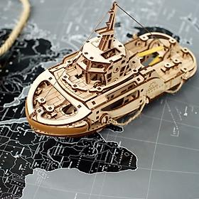 Mô hình gỗ cơ khí tự chuyển động- UGEARS Tugboat - Tàu phá băng, Hàng chính Hãng Ugears, nhập khẩu nguyên bộ EU, mô hình lắp ráp 3D, đồ chơi trí tuệ DYI