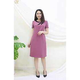 Đầm Thiết kế Đầm xòe Đầm thời trang công sở Đầm trung niên thương hiệu TTV347 hồng ruốc - Đầm suông cổ kết hoa C.T