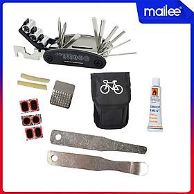 Túi Vá Săm Lốp Xe Đạp Sửa Chữa Đa Năng 10 in 1 Mini Khẩn Cấp (Bản nâng cấp có túi và Thanh nạy bằng kim loại) MaiLee