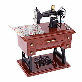 Pedal Vintage Mini Sewing Machine Music Box Manual Winding Music Box Mini Toy Birthday Gift The Personality Style Musical Toy
