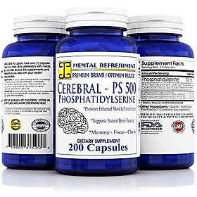 Mental Refreshment: Cerebral PS 500mg 200 Capsules - Best Value, Most Potent Phosphatidylserine