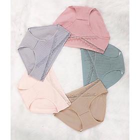 Set 3 quần lót bầu cao cấp chất cotton mềm mại, viền ren