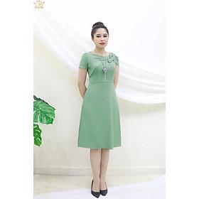 Đầm Thiết kế Đầm xòe Đầm thời trang công sở Đầm trung niên thương hiệu TTV387 xanh dứa - Đầm from a phối nơ rớt vai bên trái CT