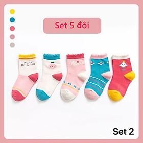 Tất vớ cho bé gái 1-12 tuổi Set 5 đôi tất trẻ em trộn màu cao cổ chống trượt phong cách Hàn cực đẹp