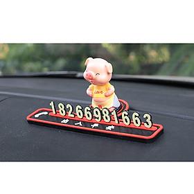 Bảng ghi số điện thoại gắn trên xe ô tô , xe hơi [ hình chú lợn ngộ nghĩ đáng yêu]