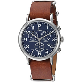Timex Unisex TW2R63200 Weekender Chrono Brown Double-Layered Leather Slip-Thru Strap Watch