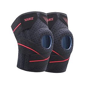 Bộ 2 đai bó bảo vệ đầu gối AOLIKES YE-7909 có nẹp lò xo hỗ trợ dây chằng khớp gối Pressurized knee support - Hàng Chính Hãng