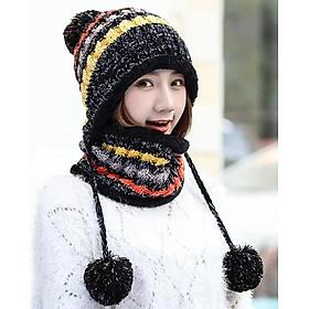 Mũ len nón len nữ kèm khăn choàng cổ len thời trang Hàn Quốc dn19111313