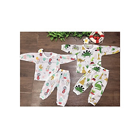 sét 02 Bộ quần áo dài tay cotton giấy cho bé- Made in Việt Nam