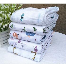 Khăn tắm đa năng khổ lớn 120x120cm chất liệu thoáng mát cho bé, khăn cuộn nền trắng(mẫu ngẫu nhiên)