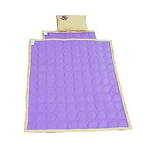 Chăn gối đệm vải cho bé mẫu giáo màu tím