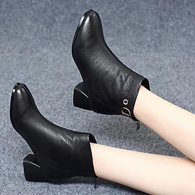 Giày Bốt Nữ Da Mềm Đế Vuông Cao 4cm Mã H84