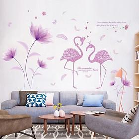 Decal dán tường Hoa tím và thiên nga trang trí phòng khách,phòng ngủ đẹp