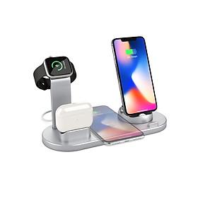Đế sạc nhanh không dây QGeeM 4 trong 1 chuẩn Qi cho Apple Watch, Airpods, iphone 12/11/ Pro/ X XS XR Xs Max 8 8 Plus-Hàng chính hãng