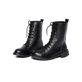 Giày boot nữ cổ cao đế thấp Rozalo RW67517