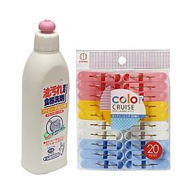 Hình đại diện sản phẩm Combo Set 20 kẹp quần áo màu sắc + Nước rửa chén bát đậm đặc 300ml nội địa Nhật Bản