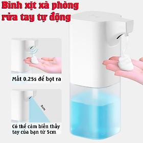 Bình xịt xà phòng rửa tay tự động cảm biến hồng ngoại , Tặng kèm 1 Cục x à bông tạo bọt an toàn