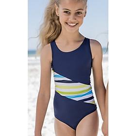 Áo tắm trẻ em Fashy cao cấp 100% nhập khẩu từ Đức, tiêu chuẩn châu Âu - Size cho bé gái từ 4-8 tuổi - Màu xanh đậm sọc chéo