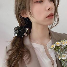 Cột Tóc Vải Scrunchies Họa Tiết Hoa Cúc Trong Suốt SC02