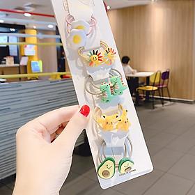 Set 5 dây buộc tóc Quả Bơ Trứng ốp Khủng Long Pikachu Mặt trời cho bé