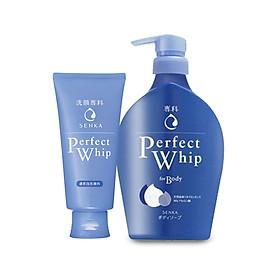 Combo Sữa tắm dưỡng ẩm Senka Perfect Whip 500ml và Sữa rửa mặt sạch ẩm mịn tự nhiên với bọt tơ tằm trắng Perfect Whip 120g
