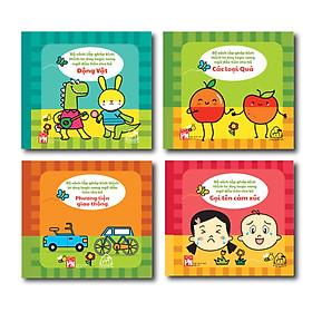 """Bộ 04 cuốn Sách Vải SONG NGỮ Mix & Match: Gọi tên cảm xúc + Phương tiện giao thông + Các loại hoa quả + Động vật """""""