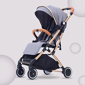 Xe đẩy du lịch siêu nhẹ hợp kim nhôm chịu lực, xe đẩy em bé, xe đẩy gấp gọn (xám)