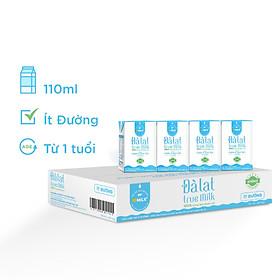 Sữa Tươi Đà Lạt True Milk Ít Đường Hộp 110ml (Thùng 48 Hộp)