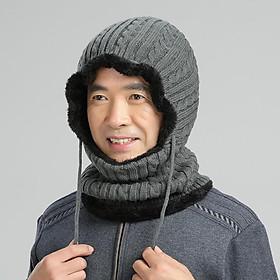 Mũ len kèm khăn cổ lót lông ấm áp cho người lớn tuổi mùa đông