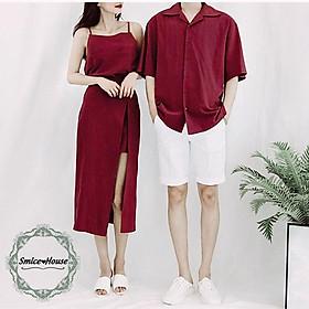 Áo đôi nam nữ Set áo váy sơ mi cặp couple màu đỏ, màu xanh đen Hàn Quốc đi du lịch chụp hình cưới - Smice House