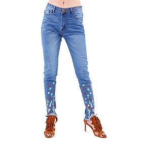 Quần Jeans Nữ Thêu Hoa Nhí Không Gấu JNT002