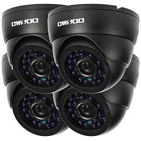 OWSOO 800TVL CCTV Security Surveillance Kit 4*Indoor Camera + 4*60ft Cable 3.6mm 24LEDs IR-CUT Night View Plug and Play