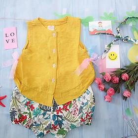 Bộ đũi mùa hè cao cấp cho bé gái màu vàng