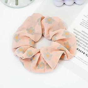 Dây buộc tóc scrunchies đẹp, chun cột tóc vải họa tiết hoa hàn quốc SC04