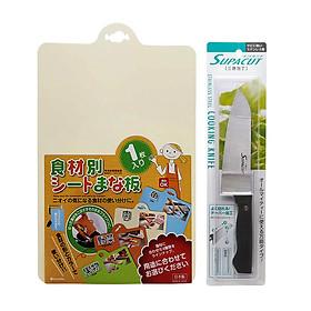 Combo Dao nhà bếp inox lưỡi đặc + Thớt nhựa dẻo (màu be) nội địa Nhật Bản