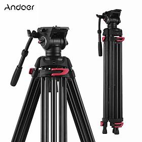 Chân Chụp Ảnh Tripod Hợp Kim Nhôm Andoer XTK-8018 Với Đầu Thủy Lực Xoay Toàn Cảnh Cho Máy Canon Nikon Sony DSLR (360°) (180cm) (Tối Đa 10kg)