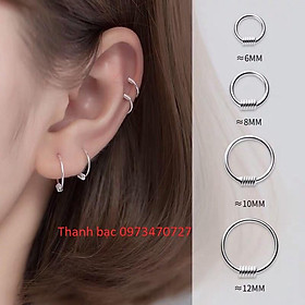Khuyên tai nam nữ đeo bao đẹp chất liệu bạc ta