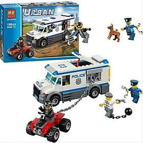 Bộ đồ chơi lắp ghép xếp hình xe cảnh sát áp giải tội phạm - Lắp ghép xe mô tô địa hình tội phạm vượt ngục - Xe hơi cảnh sát - Cảnh sát và tội phạm - Bộ xếp hình cảnh sát và tội phạm 198 mảnh ghép