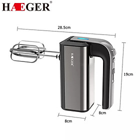 Máy đánh trứng và làm bánh cầm tay nhãn hiệu Haeger HG-6664 5 mức tốc độ đánh, Công suất 500W - Hàng chính hãng