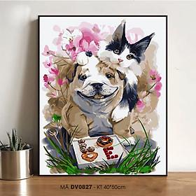 Tranh tô màu theo số sơn dầu số hóa DV0827 Tranh thú cưng con vật đôi bạn chó và mèo