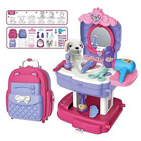 Đồ Chơi Trang Điểm Cho Bé Gái Có Búp Bê Thú Nhồi Bông Nhập Vai Bowa Xếp Lại Dễ Dàng Thành Balo 8394P - Pet care School Bag Role