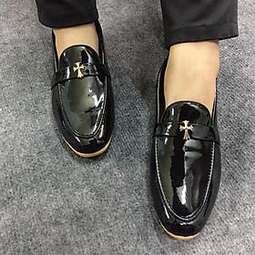 Giày Tây Nam Đế Vàng Da Bóng Phối Khóa Sang Trọng