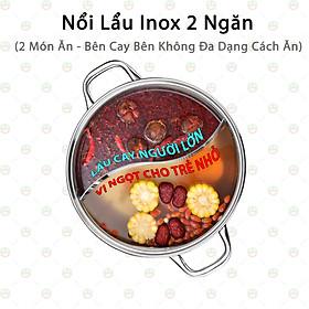 [Độc Lạ] Nồi Lẩu Inox 2 Ngăn Nắp Thủy Tinh KhoNCC Hàng Chính Hãng - Nấu 2 Món Ăn Cho Khẩu Vị Riêng - KLVQ-NL2N (Inox)