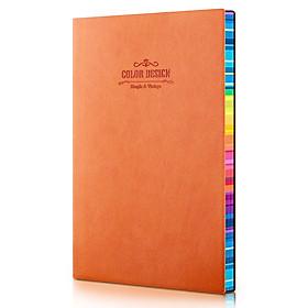 Sổ tay ghi chép A5 bìa da PU Deli 112 trang - Màu Cam/Vàng - 1 quyển - 3183
