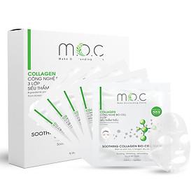 Hộp 5 Miếng Mặt Nạ Sinh Học Collagen Dịu Da - Cân bằng dầu nước, phục hồi thương tổn, Cung cấp dưỡng chất Collagen thủy phân cao, (HA), ôm khít như làn da thứ 2 mềm mịn và trắng sáng