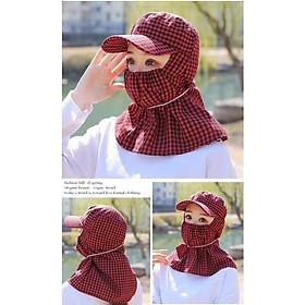 Mũ nón chống nắng nữ ninja có chìa rộng chùm kín cổ gáy kiêm khẩu trang chống nắng vải caro thoáng mát