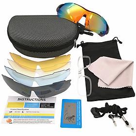 COMBO kính mát chống UV có 5 len và phụ kiện, kính râm thời trang đi phượt xe máy ô tô xe đạp đi biển dã ngoại câu cá ngoài trời