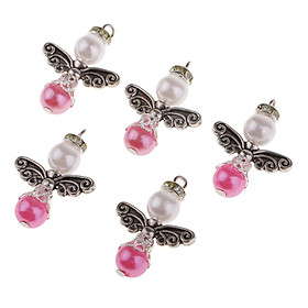 5pcs Pearl Polymer Clay Fairy  Charms Pendants for Jewelry Making DIY