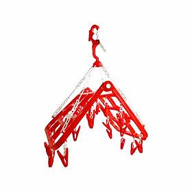 Móc xếp thông minh 20 kẹp Chấn Thuận Thành móc chùm chữ nhật, phơi quần áo có thể gấp gọn, đa năng, tiện lợi - hàng Việt Nam Chất Lượng Cao MTXN20Đ Màu đỏ