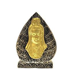 Tượng Đá Lá Bồ Đề 3D - Màu Nhũ Vàng